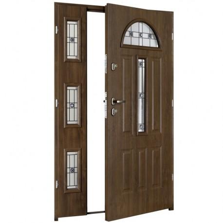 Drzwi wzmocnione zewnętrzne dwuskrzydłowe GTT DUO wzór Werona3 witraż P
