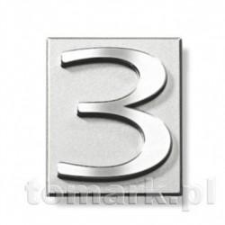 Cyferka 3 srebrna plastik